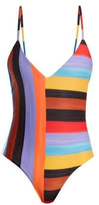 Mara Hoffman Emma Sunglow Stripe Print Scoop Back Swimsuit - Womens - Black Multi