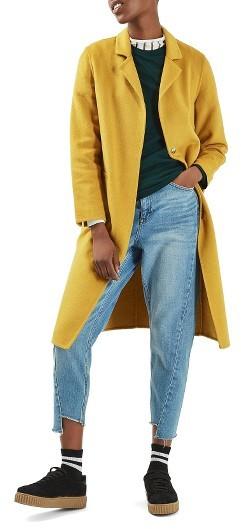 TopshopWomen's Topshop Snap Button Three-Quarter Coat