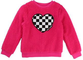 Little Marc Jacobs Soft Faux-Fur Heart Illustration Sweater, Size 6-10