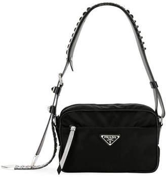 2276a79d210bbe Prada Black Nylon Shoulder Bag with Studding