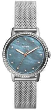 Fossil Neely Mother-of-Pearl Stainless Steel Mesh Bracelet Watch