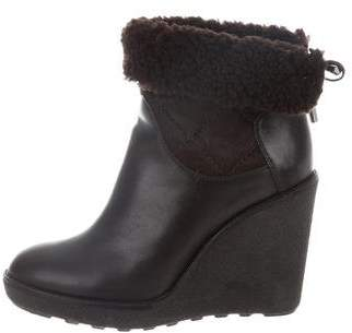 Moncler Shearling-Lined Ankle Boots