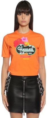 DSQUARED2 HAWAII PRINT COTTON JERSEY T-SHIRT