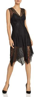 BCBGMAXAZRIA Piped Mesh & Lace Dress