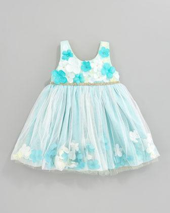 Le Pink Flower Applique Tulle Dress, Aqua/Yellow