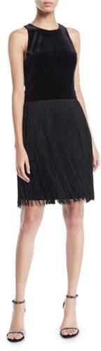 Aidan by Aidan Mattox Sleeveless Velvet & Fringe Dress