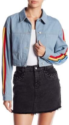 Honeybelle Honey Belle Rainbow Stripe Cropped Denim Jacket