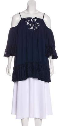 Tularosa Lace-Accented Cold-Shoulder Top