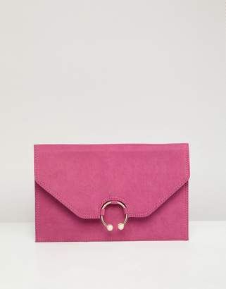 Asos Design DESIGN clutch bag with ring pearl detail