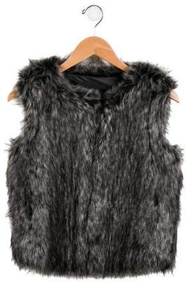 Vince Girls' Faux Fur Scoop Neck Vest