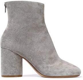 Maison Margiela Crystal-Embellished Suede Ankle Boots
