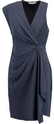 Halston Draped Asymmetric Crepe Dress