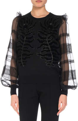 Andrew Gn Embroidered Knit Top w/ Organza & Lace Sleeves