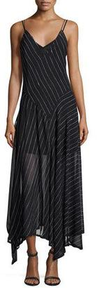 DKNY Sleeveless Striped Silk Handkerchief Dress, Black $498 thestylecure.com