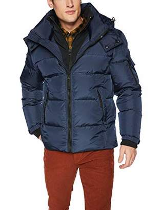 S13 Men's Downhill Quilted Down Coat with Removable Faux Fur Hood