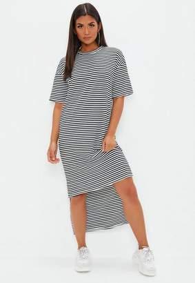 Missguided Monochrome Stripe Oversized TShirt Dress