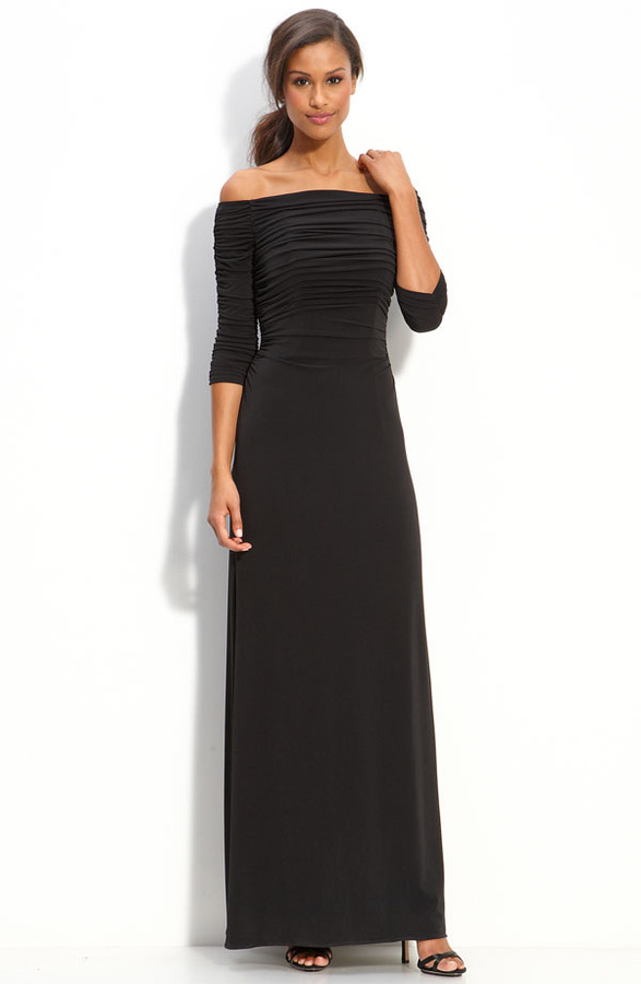 Laundry by Shelli Segal Off Shoulder Jersey Gown
