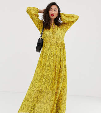 NA-KD Na Kd mesh flower print maxi dress in yellow