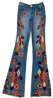 Alice + Olivia Low-Rise Embroidered Jeans