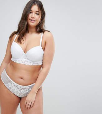 New Look Plus Curve Cotton Lace Longline Bra