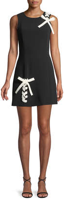 Cinq à Sept Izella Sleeveless Mini Dress with Lace-Up Details