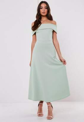 Missguided Bridesmaid Green Bardot Fold Over Skater Midi Dress