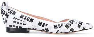 MSGM pointed toe branded ballerinas
