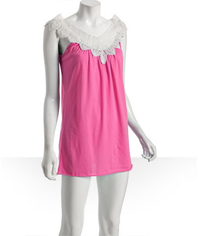 LnA neon pink lace trim v-neck dress