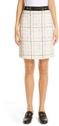 Gucci Checked Tweed A-Line Skirt