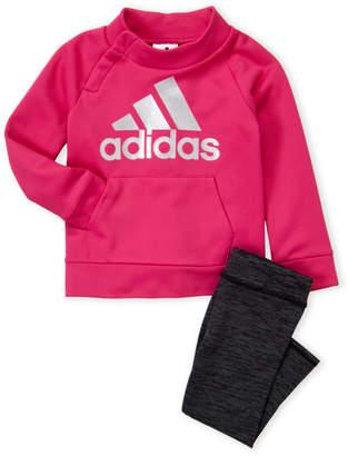 adidas Toddler Girls) Two-Piece Logo Sweatshirt and Leggings Set