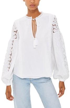Women's Topshop Lace Sleeve Poet Blouse $95 thestylecure.com
