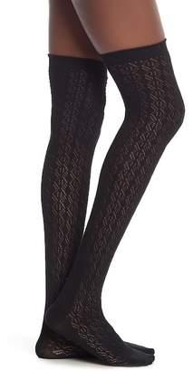 Steve Madden Diamond Crochet Over The Knee Length Socks