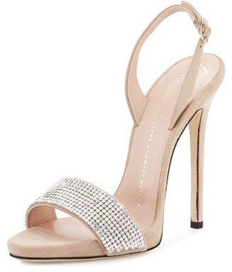 Giuseppe Zanotti Coline Crystal 110mm Sandal, Pallido $995 thestylecure.com