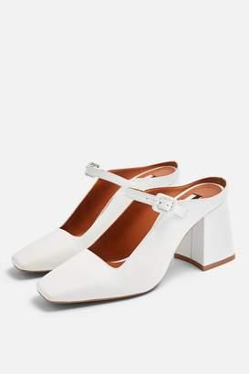 Topshop Womens Grenadine White Square Mules - White