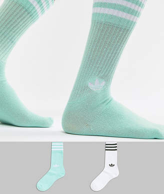 adidas 2 Pack Crew Socks In Mint Dh3362