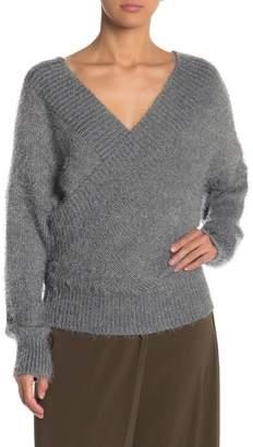 3afc86112a872 HYFVE Fuzzy Knit Surplice Sweater