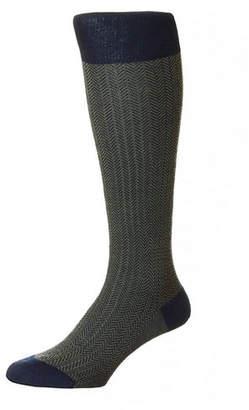 Pantherella Men's Herringbone Wool Over-Calf Socks