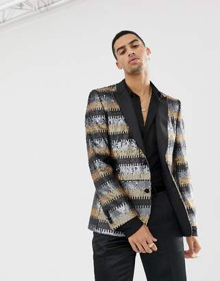 Asos Edition EDITION skinny suit jacket in grey and gold sequins