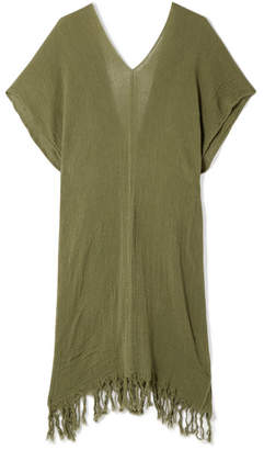 Caravana - Itzanami Fringed Cotton-gauze Midi Dress - Army green