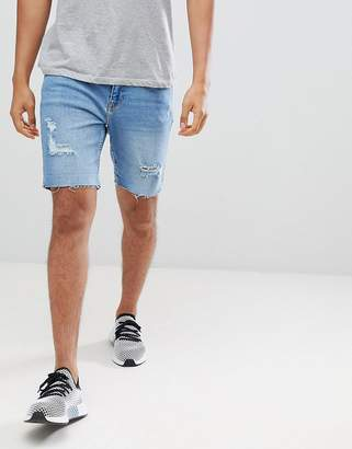 Bershka Slim Fit Denim Shorts In Light Blue With Rips And Abrasion