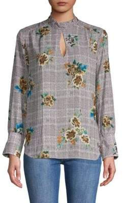 Supply & Demand Plaid & Floral Keyhole Blouse