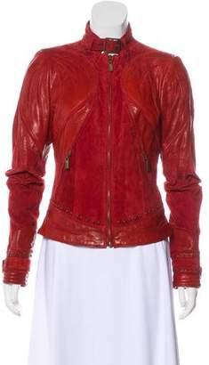 Just Cavalli Zip-Up Leather Jacket