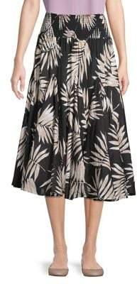 Context Tonal Palm Frond A-Line Midi Skirt