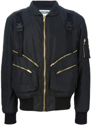 Moschino buckled strap bomber jacket