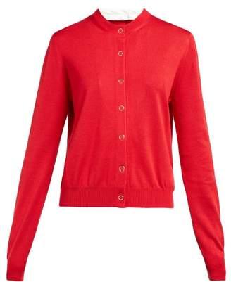 Burberry Scarf Trim Silk Jersey Cardigan - Womens - Red Multi