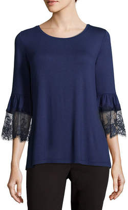 Liz Claiborne 3/4 Sleeve Round Neck Jersey Lace Blouse