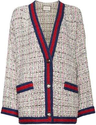 Gucci rhinestone tweed cardigan with contrast trim