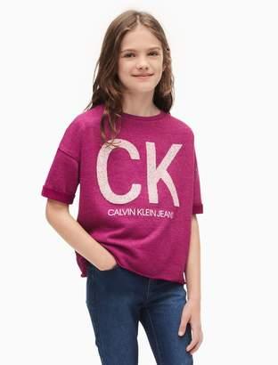Calvin Klein girls logo short sleeve cut-off sweatshirt