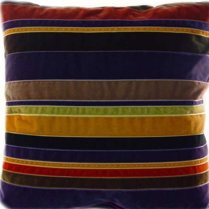 Dransfield & Ross - plum velvet ribbon 'stripe' pillow by dransfield and ross