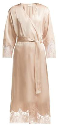 Icons Cyclamen Lace Trimmed Silk Robe - Womens - Light Pink